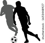 two soccer players kicking... | Shutterstock .eps vector #1653448927