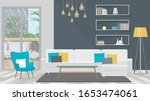 living room with white sofa and ... | Shutterstock .eps vector #1653474061