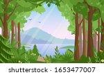 Forest Landscape Flat Vector...