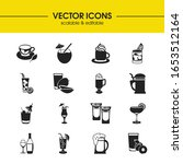 cocktails icons set with whisky ...