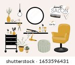stylish hair salon interior....   Shutterstock .eps vector #1653596431