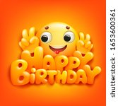 happy birthday card with emoji... | Shutterstock .eps vector #1653600361