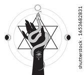 serpent in female hands over... | Shutterstock .eps vector #1653682831