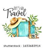 Vintage Travel Blue Suitcase...