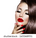 sexy beauty girl with red lips...   Shutterstock . vector #165368951