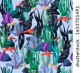 seamless pattern with undersea...   Shutterstock .eps vector #1653701491