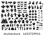 set of silhouettes of halloween ... | Shutterstock .eps vector #1653729931