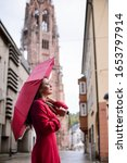 Girl With Red Umbrella Having A ...
