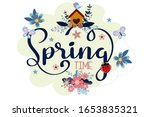 spring background with cute... | Shutterstock .eps vector #1653835321