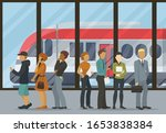 people group stand in queue for ... | Shutterstock .eps vector #1653838384