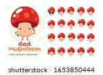 a mascot of the red mushroom.... | Shutterstock .eps vector #1653850444