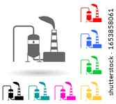 oil refinery multi color style... | Shutterstock .eps vector #1653858061