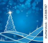 christmas tree and blue... | Shutterstock .eps vector #165388787