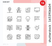 vector pack of 16 icons in line ... | Shutterstock .eps vector #1653906604