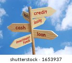 Wooden signpost with business concept indications - stock photo