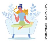 woman relaxing with cat flat... | Shutterstock .eps vector #1653970597