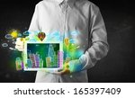 young person showing tablet... | Shutterstock . vector #165397409