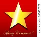 gold star on red merry... | Shutterstock .eps vector #165402821