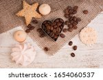 Coffee Beans And Sweets On A...