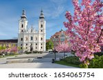A church and a grammar school at the Heroes Square in Miskolc, Hungary, Central Europe