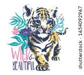 little tiger cub pen hand drawn ... | Shutterstock .eps vector #1654092967