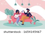 hipster man and casual woman... | Shutterstock .eps vector #1654145467