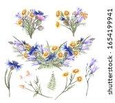 set of watercolor illustrations ... | Shutterstock . vector #1654199941