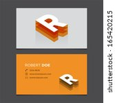 business card template with... | Shutterstock .eps vector #165420215