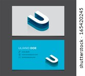 business card template with... | Shutterstock .eps vector #165420245