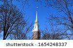 Memorial church white steeple...