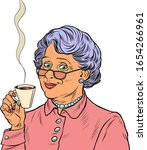 Elderly Woman Drinking Tea. Po...
