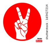 hand with victory sign red on...   Shutterstock .eps vector #165427214