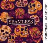 mexican sugar skulls seamless... | Shutterstock .eps vector #1654348984