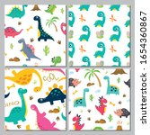 set of cute dinosaur seamless... | Shutterstock .eps vector #1654360867