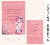 wedding set with roses and a... | Shutterstock .eps vector #1654364347
