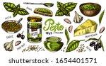 pesto sauce set. basil leaves ... | Shutterstock .eps vector #1654401571