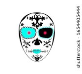 los muertos style mask with red ...   Shutterstock .eps vector #1654405444