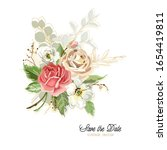 hand drawn bouquet with roses... | Shutterstock .eps vector #1654419811