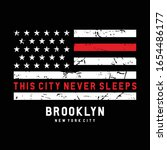 Vector illustration on the theme of New York City, Brooklyn. Vintage design. American flag. Typography, t-shirt graphics, poster, print, banner, flyer, postcard - stock vector