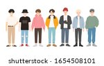 group of young people flat... | Shutterstock .eps vector #1654508101