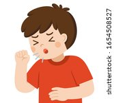 sick cute boy is coughing as... | Shutterstock .eps vector #1654508527