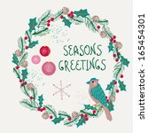 christmas wreath with bird and... | Shutterstock . vector #165454301