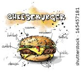 Tasty burger. Sketch + watercolor style. Vector collection.