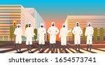 asian people wearing hazmat... | Shutterstock .eps vector #1654573741