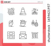collection of 9 vector icons in ... | Shutterstock .eps vector #1654621957