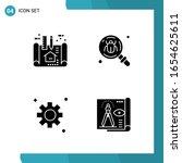 vector pack of 4 glyph symbols. ... | Shutterstock .eps vector #1654625611