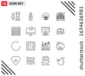 pixle perfect set of 16 line... | Shutterstock .eps vector #1654636981