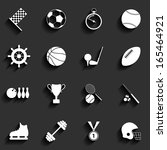 set of sport icons in flat... | Shutterstock . vector #165464921