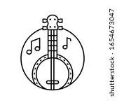 banjo in circle icon. simple...