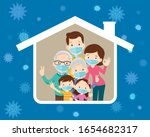 big family  wearing a surgical... | Shutterstock .eps vector #1654682317